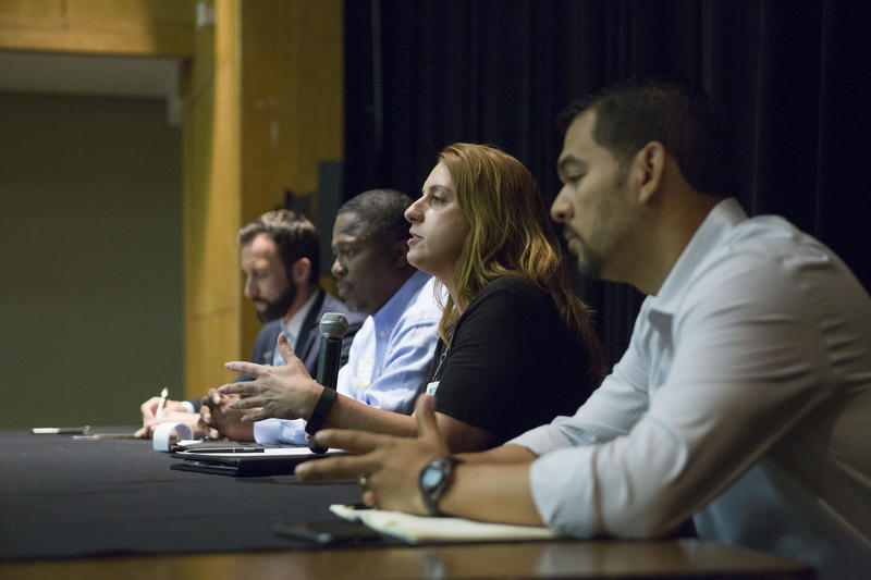 AISD Board of Trustees Candidates address students at forum held at East Side Memorial High School on October 6, 2015.