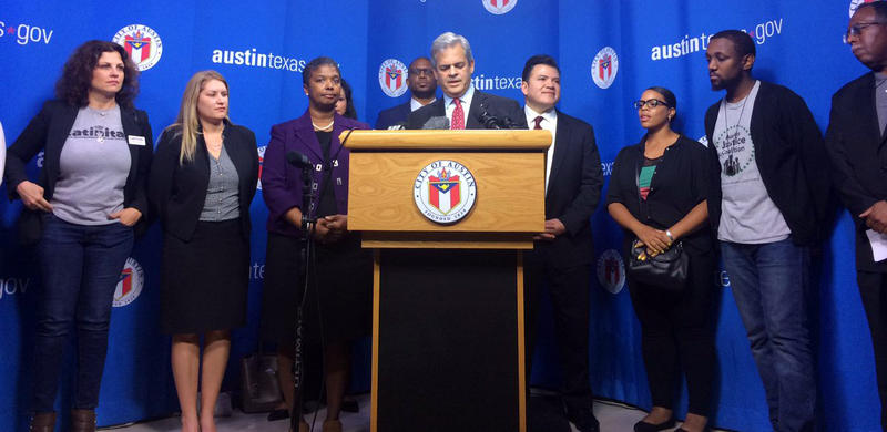Mayor Steve Adler announcing a city task force to tackle instances of institutional racism in the community.