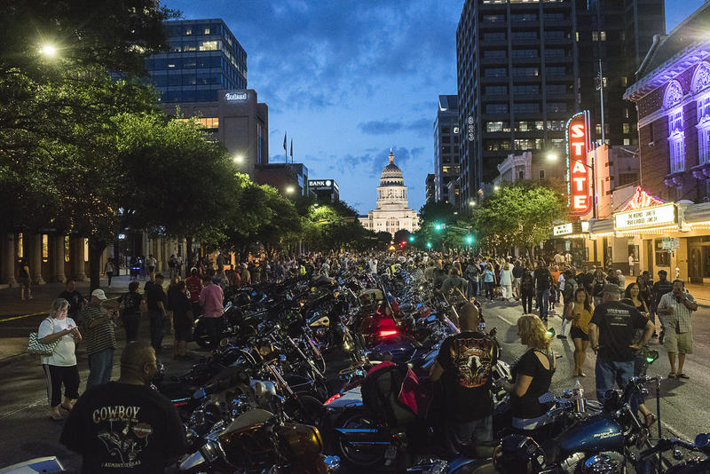 Bikers and fans gather in the thousands in downtown Austin for the 2015 ROT Rally Parade.