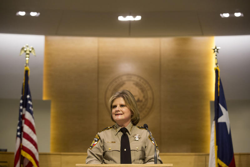 Sally Hernandez is sworn into office as Travis County sheriff on Jan. 4.