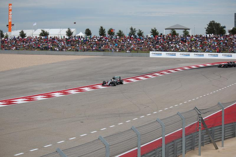 Lewis Hamilton leads the pack at the 2016 U.S. Grand Prix in October. He went on to win the race for the fourth time in five years.