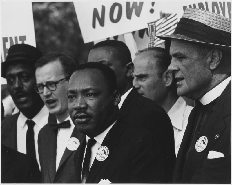 King shortly before his speech on the National Mall on August 28, 1963