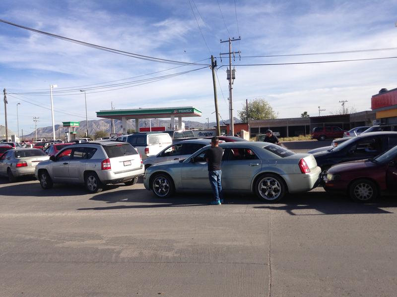 One of the few stations in Chihuahua with gas still in the pumps.