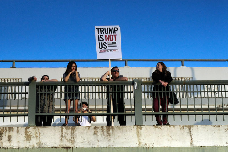 One Resistance protesters rallied at Auditorium Shores.