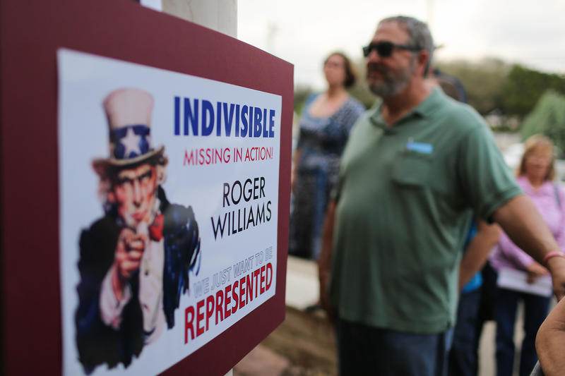 U.S. Rep. Roger Williams' constituents hold a town hall meeting at Flores Mexican Restaurant in Dripping Springs on Sunday. The congressman declined to attend.