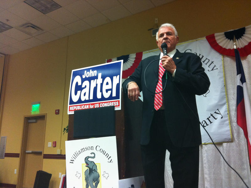 "Congressman John Carter at an event in Williamson County in 2010. His office says he has an ""active work schedule"" this week."