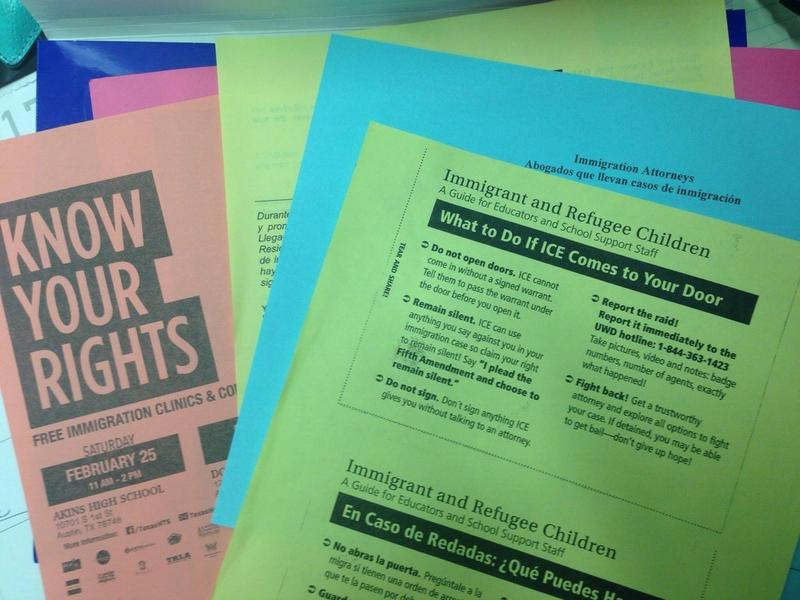 Education Austin, the local teachers union, passed out information and resources to families concerned about recent Immigration and Customs Enforcement activity.