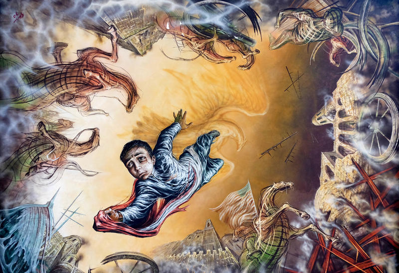 Gabriel Flores' ceiling mural at the Castillo de Chapultepec shows cadet Juan Escutia leaping from the castle walls to his death, wrapped in the Mexican flag in order to prevent it from falling into U.S. enemy hands in 1847.