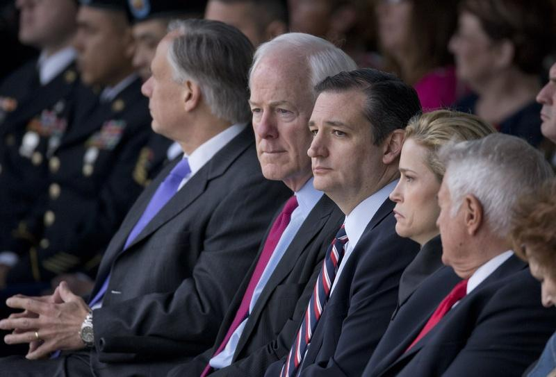 Sens. John Cornyn and Ted Cruz at a ceremony in 2015.