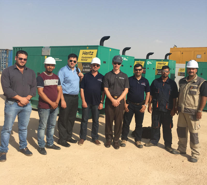 Subhi Khudairi (center) with his team at a worksite in Karbali, Iraq.