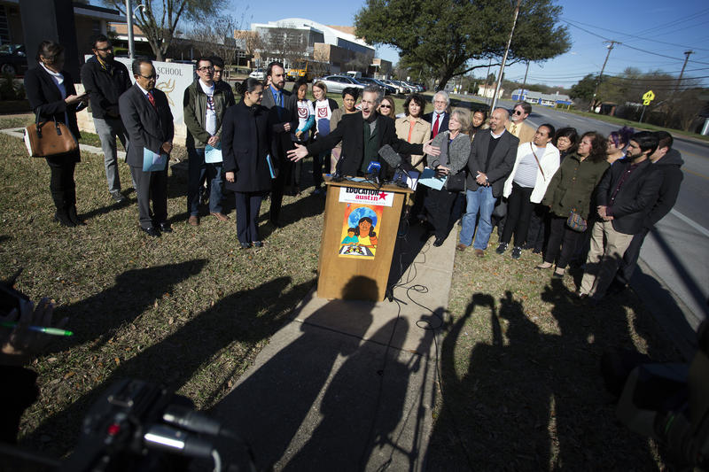 Education Austin President Ken Zarifis addresses concerns about a memo from Austin ISD that told staff not to distribute material related to immigration resources, at a news conference at Lanier High School on Wednesday.