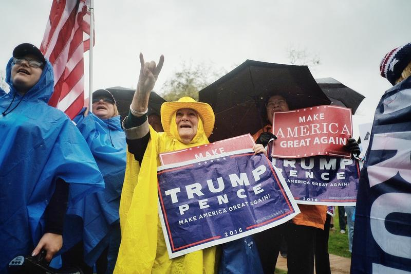Dolly Golden of Austin participates in a march in support of President Trump on Saturday.