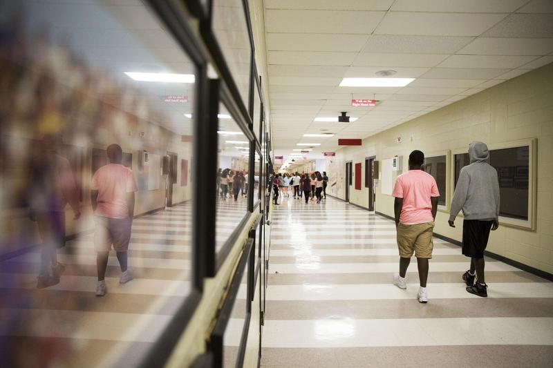 A middle school hallway