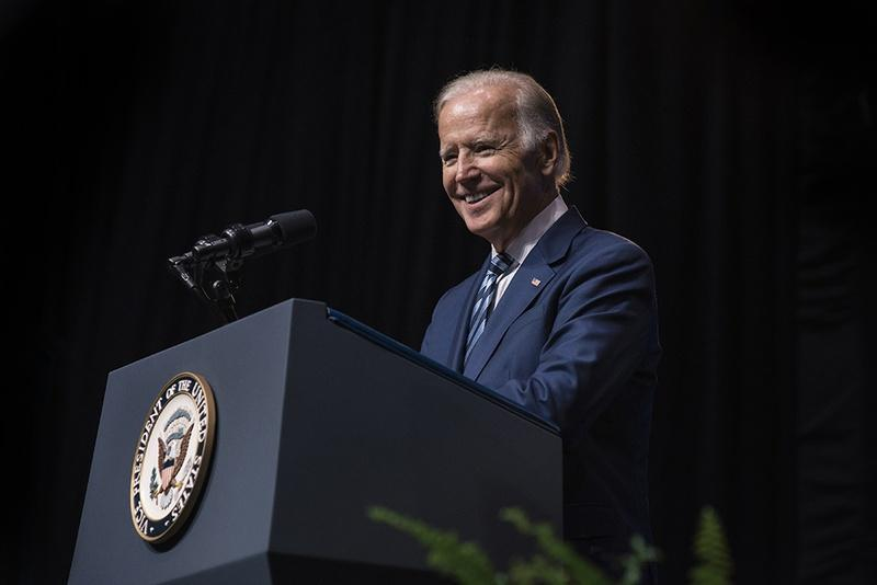 Vice President Joe Biden delivers a speech on Sept. 16, 2016 at Rice University's Tudor Fieldhouse about the White House Cancer Moonshot, an initiative Biden leads that aims to double the rate of progress toward a cure for cancer.