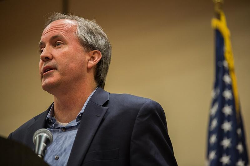 Ken Paxton speaks at the Texas State Rifle Association General Meeting in Round Rock on Feb. 25.