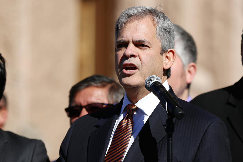 Mayor Steve Adler speaks at the Texas state Capitol in January.