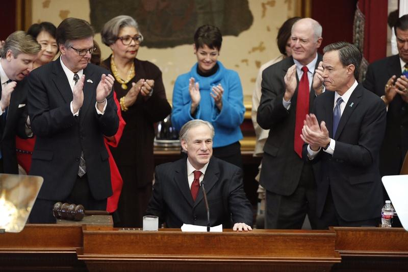 Gov. Greg Abbott prepares to deliver his State of the State address in January.
