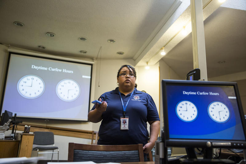 Christina Rodriguez, a juvenile case manager, leads a juvenile curfew class at Austin Municipal Court.