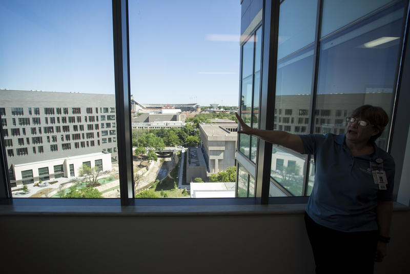 Maria Tappan, staff educator at Dell Seton Medical Center, points to the Dell Medical School campus during a tour of the new Dell Seton Medical Center.