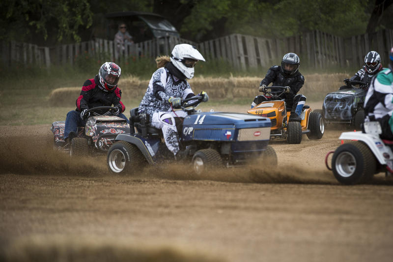 Racers at the Mike Cupps Memorial Lawn Mower Race in Marble Falls on April 22.
