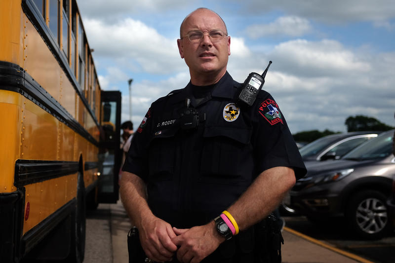 Officer Chris Roddy makes sure students stay on campus and get an education.