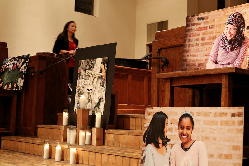 First English Lutheran Church holds an interfaith vigil for refugees after President Trump issued an executive order temporarily barring them from entering the country in February.