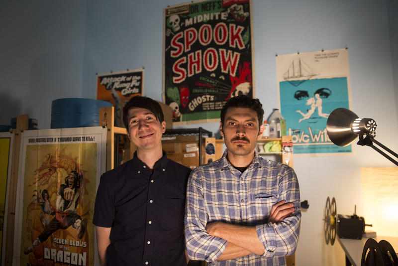 Joe Ziemba, director of the American Genre Film Archive, and Sebastian del Castillo, its head archivist, in their office at Alamo Drafthouse on South Lamar.
