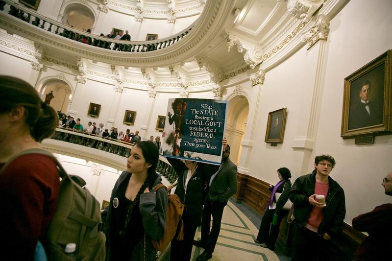 Crowds gathered inside the Texas Capitol when SB 4, the sanctuary cities bill, was considered in the Senate State Affairs Committee on Feb. 2, 2017.