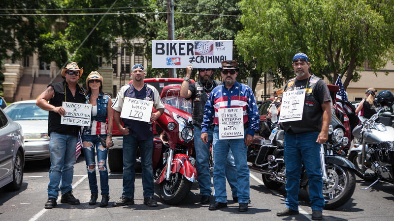 Protesters support bikers who were arrested and jailed, following the Twin Peaks shootout in Waco.