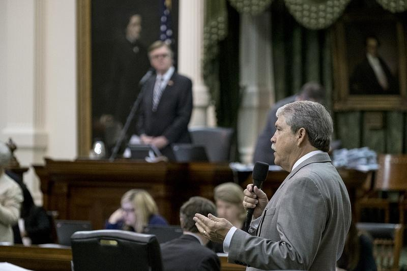 State Sen. Larry Taylor, R-Friendswood, on the floor of the Senate on Sunday.