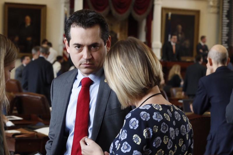 State Rep. Matt Rinaldi, R-Irving, on the floor of the House after a scuffle with some members of the Hispanic Caucus on the last day of the 85th Legislature on Monday.