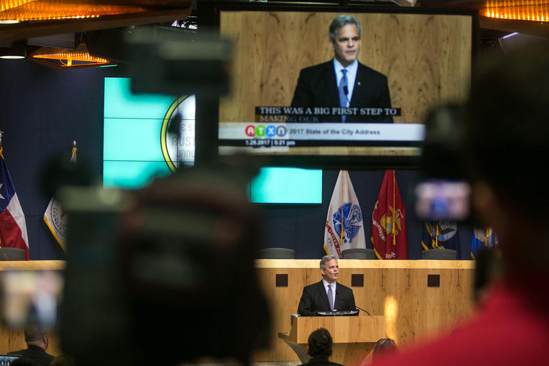 Austin Mayor Steve Adler delivers his State of the City address in January.