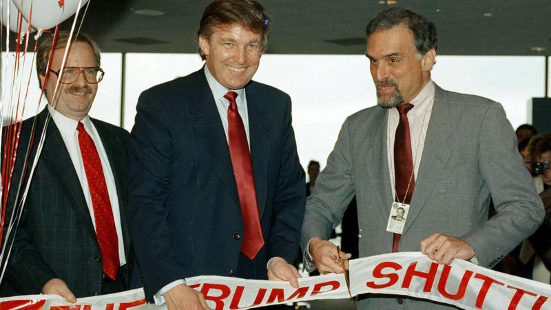 Back when commercial lenders were eager to do business with him, Donald Trump briefly operated an airline. In this 1989 picture, Trump attended a ribbon-cutting for the venture at Boston's Logan Airport.
