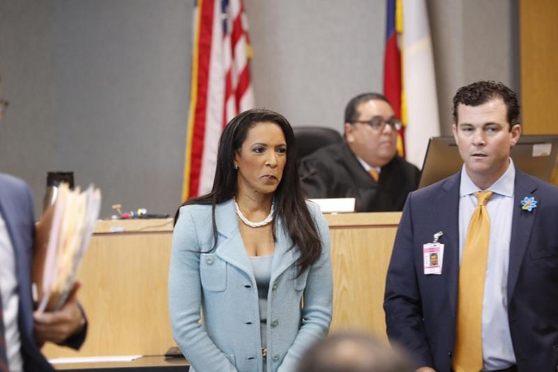 State Rep. Dawnna Dukes, D-Austin, appears in the Travis County Courthouse on Friday. At right is attorney Matt Shrum.