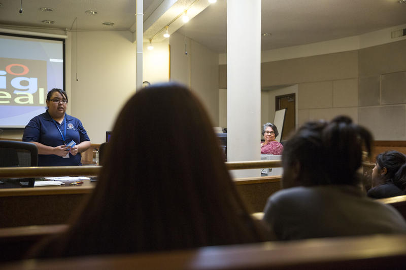 Christina Rodriguez, a juvenile case manager with the Youth Services Program, leads a juvenile curfew class at the City of Austin Municipal Court in March.