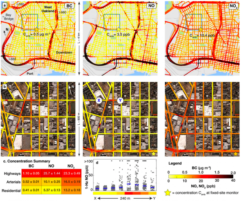 Researchers developed detailed maps of air pollution in Oakland, Calif.