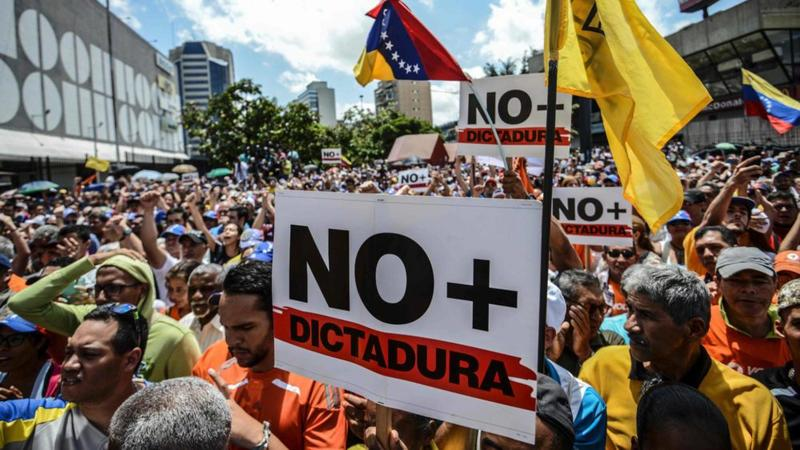Venezuelans protest the government crackdown on the main opposition party and its leaders.
