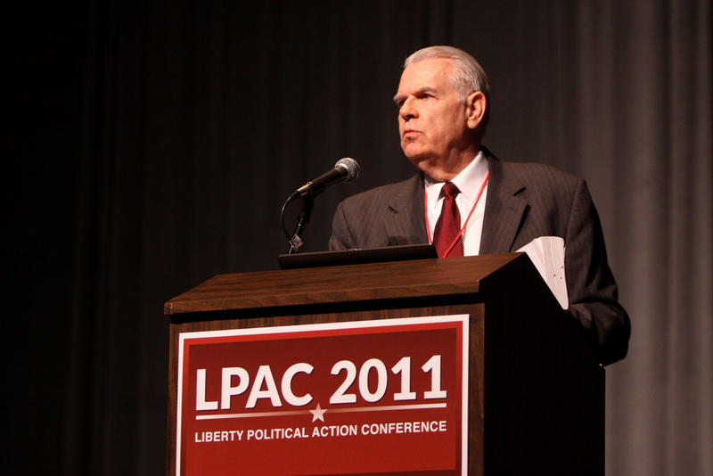 John Birch Society CEO Arthur Thompson speaking at the Liberty Political Action Conference in 2011 in Reno, NV.