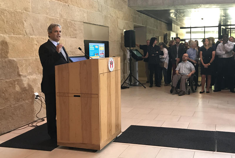 Mayor Steve Adler lays out a plan to increase hotel taxes to help pay for housing for the homeless.