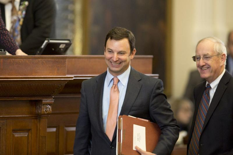 Rep. Craig Glodman, R-Fort Worth, smiles afer Senate Bill 5, a mail-in voter fraud bill, passed to third reading on Wednesday.