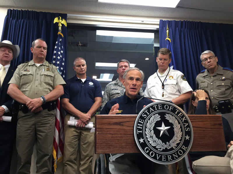 Gov. Greg Abbott delivers an update on Harvey relief efforts at the State Operations Center in Austin on Wednesday.