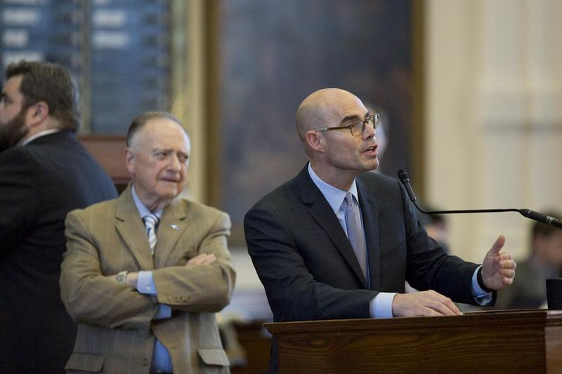 Texas State Rep. Dennis Bonnen R-Angleton at the microphone during debate Saturday in the House over SB1.