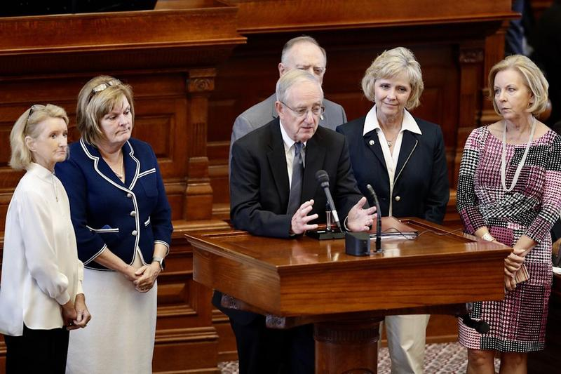 State Rep. John Smithee, R-Amarillo, discusses House Bill 214, which would require women to pay an extra health insurance premium for non-emergency abortions on Aug. 8.