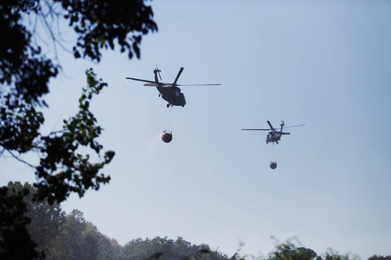 Blackhawk helicopters were commissioned to help battle a blaze in Smithville in October 2015.