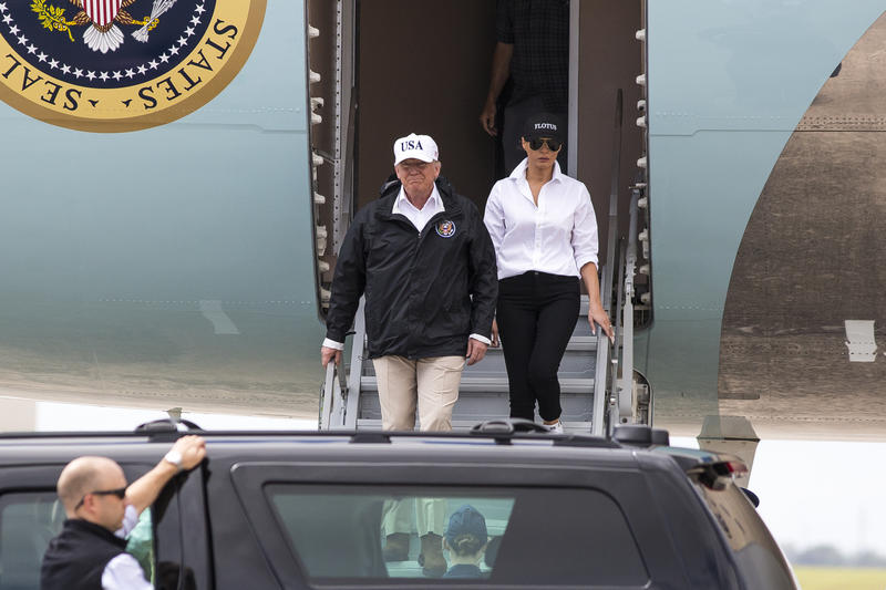 President Trump visited Corpus Christi to be briefed on damage sustained during Hurricane Harvey last week.