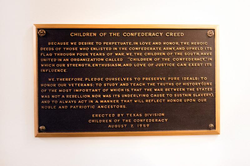 The Children of the Confederacy Creed, which was installed inside the Capitol in the late 1950s, states that the Civil War was not fought over slavery.