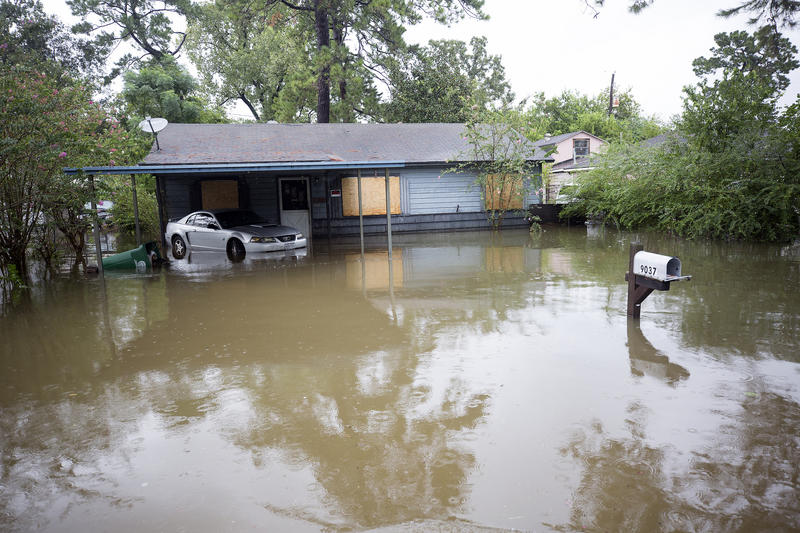 Many homes in Houston were flooded after Hurricane Harvey. Medical workers are looking out for post-traumatic stress symptoms in people whose homes were damaged or destroyed in the storm.
