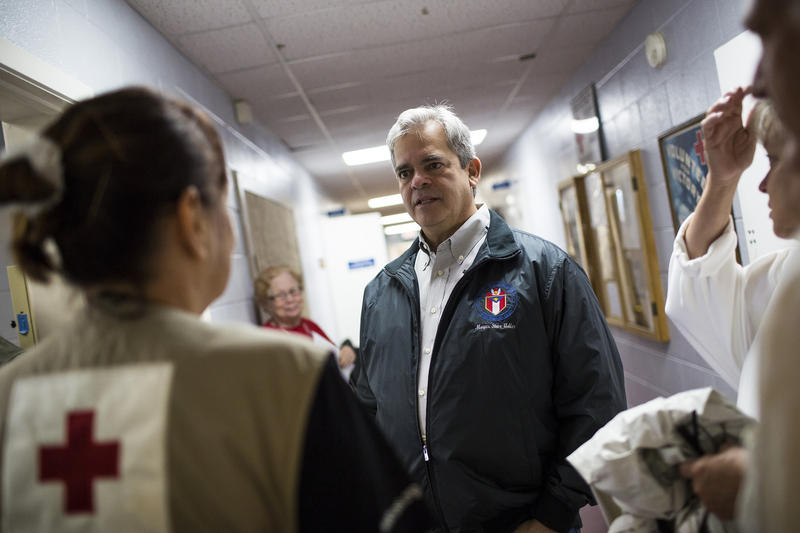 Austin Mayor Steve Adler touring the Austin Red Cross in East Austin on Aug. 26.