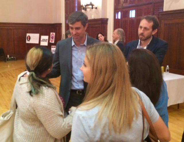 Beto O'Rourke greets voters at the Texas Tribune Festival.