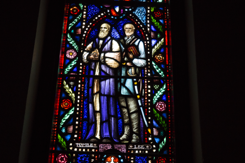 Confederate General Robert E. Lee is represented in one panel of the All Saints Window.